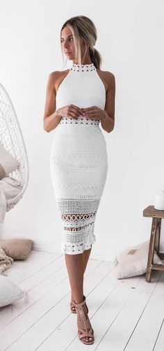 #winter #outfits white crew-neck sleeveless bodycon midi dress