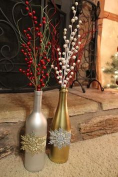 Christmas Decor, recycled wine bottles. by brian and veronica