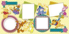 Plantilla Child 29x58 para la Creación de Foto Libros - Imagen Fondo Winnie the Pooh, decorada con los personajes de la película Winnie the Pooh (Winnie the Pooh, Piglet, Tigger, Canguro, Igor y Conejo). Dispone de 4 casillas para insertar fotografías con marcos de diferentes colores y formas. Además dispone de dos rectángulos decorados con flores para escribir mensajes o rótulos.