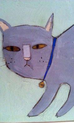 Primitive Painting, Cat Posters, Cat Colors, Grey Cats, Cat Drawing, Pet Portraits, Cat Art, Mandala, Illustration Art