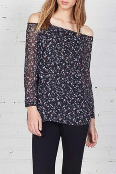 The Bailey44 Profit Floral Top is a printed chiffon long sleeve off-the-shoulder top with split hem and a soft stretch jersey underlay. Features short shoulder straps for easy wear.  Profit Floral Top by Bailey 44. Clothing - Tops Clothing - Tops - Off The Shoulder Hudson Valley New York