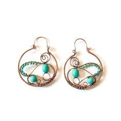 Turquoise hoop earrings, Copper hoop Earrings,  Art nouveau hoop earrings, Turquoise gemstone earrings, twisted copper earrings trendy hoops by ElaineJewelryDesign on Etsy