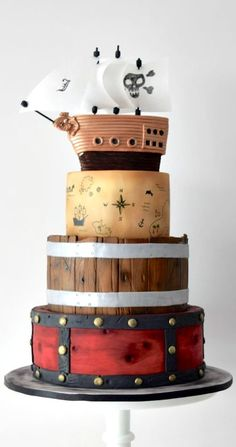 Here is my first take on a pirate cake! Pretty Cakes, Beautiful Cakes, Amazing Cakes, Fondant Cakes, Cupcake Cakes, Boat Cake, Superhero Cake, Just Cakes, Unique Cakes