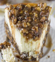If you love Pecan Pie, you'll love this Cheesecake! This cake has vanilla wafers crust, pecan pie filling, creamy cheesecake layer and buttery, caramel-pecan topping. Bon Dessert, Fall Dessert Recipes, Thanksgiving Desserts, Fall Desserts, Just Desserts, Delicious Desserts, Thanksgiving Decorations, Pecan Desserts, Thanksgiving Outfit