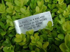 www.MyBellaMarketplace.com  #MyBellaMarketplace  A daddy is a man who has photos in his wallet where his money used to be Custom Hand Stamped Aluminum Money Clip by MyBella