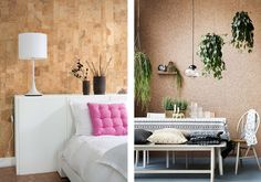 Top 10 Design Trends for 2017 by Laurel and Wolf: Cork Cork Wall, Cork Flooring, Home Trends, Rustic Design, Bright Pink, Bed Frame, Design Trends, Shabby Chic, Throw Pillows