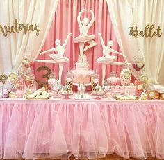 Minnie Mouse Birthday Party Dessert Table and Decor Birthday Party Desserts, Ballerina Birthday Parties, Ballerina Party, Minnie Birthday, Birthday Cake Girls, 1st Birthday Parties, Birthday Party Decorations, 3rd Birthday, Minnie Mouse Party Decorations