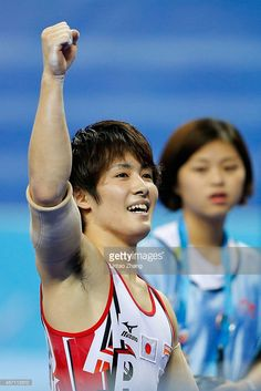 Ryohei Kato of Japan celebrates after his finish in the Men's Parallel Bars Final on day six of the 45th Artistic Gymnastics World Championships at Guangxi Sports Center Stadium on October 12, 2014 in Nanning, China.