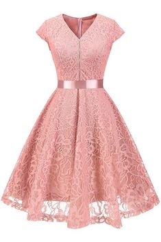 Women V-Neck Floral Lace Dress Belted Cap-Sleeve A Line Cocktail Work Office Party Dress pink Vintage Party Dresses, Cheap Party Dresses, Cheap Dresses Online, Dress Online, Dress Vintage, Vintage Floral, Office Party Dress, Dress Party, Party Party