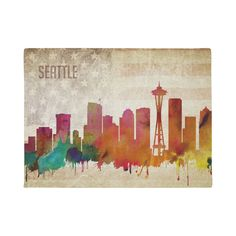 A neon watercolor outline of the Seattle city skyline with a distressed American flag backdrop. Watercolor City, Watercolor Canvas, Canvas Seattle, Seattle City, Skyline Painting, Rainbow Painting, Personalized Door Mats, City Maps, Canvas Art Prints