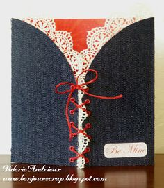 corset #card with DCWV old World and denim papers by Valerie Andrieux