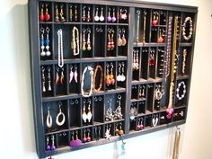 Printers Typeset Tray Jewelry Display with stud slots and 2 ring cubbys from BlackForestCottage. Ring Storage, Jewellery Storage, Jewellery Display, Jewelry Organization, Organization Hacks, Necklace Display, Earring Display, Storage Area, Wall Storage