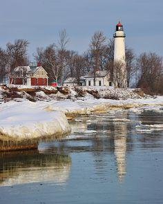Wintertime at Aux Barques Lighthouse, Port Hope, Michigan