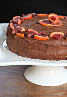 Blood orange chocolate cake. Recipe includes yellow cake and chocolate-orange frosting. Perfect for a loved one's birthday!