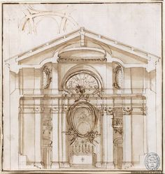 Juvarra, Filippo (Messina, 1678 - Madrid, 1736)  Cross section of a church or chapel