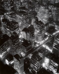 "Night View, New York, 1932, by Berenice Abbot.  Like a still from the film, ""Metropolis""."