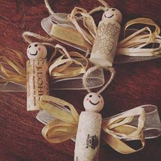 These adorable angel wine cork ornaments are such a fun and easy stocking stuffer! Perfect for friends and co-workers! Wrap them around homemade cookie mix or a nice bottle of red wine. Ribbon and string/twine on angel ornaments can vary. Make sure to check out my reindeer and snowman wine cork ornaments too! Reindeer: https://www.etsy.com/listing/461905534/reindeer-wine-cork-ornament-set-of-3?ref=shop_home_active_4 Snowmen: https://www.etsy.co...
