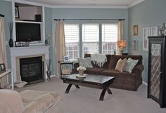living rooms - Restoration Hardware Sea Green, Brown/Blue Combo, Lamp, Old Window, couch, curtains, table, fireplace, tans,  Family Room