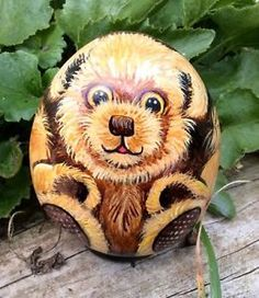 Teddy-bear-hand-painted-rock-stone-pebble-not-a-soft-toy-or-build-a-bear