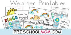 Free Weather Printables from Preschool Mom!  File Folder Games, Learning Centers, Weather Chart, Wordwall, Bingo, Sequencing and more!