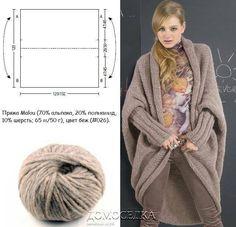cape volume com mangas Knitted Cape, Crochet Coat, Crochet Cardigan, Knitting Designs, Knitting Patterns, Vetements Shoes, Mode Crochet, Freeform Crochet, Jacket Pattern