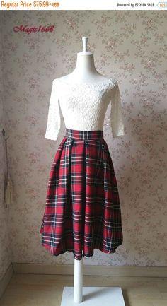 2016 Autumn Plaid Skirt Pleated Midi Skirt with by Dressromantic