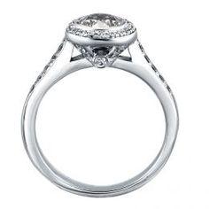 Mazal Diamond : Round Brilliant Cut Halo Engagement Ring with Diamond Studded Band
