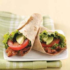Zippy BLT Wraps … just make sure the tortilla and mayo are MSPI-friendly Zippy BLT Wraps … stellen Sie sicher, dass Tortilla und Mayo MSPI-freundlich sind Wrap Recipes, Pork Recipes, Lunch Recipes, Summer Recipes, Healthy Recipes, Sandwich Recipes, Healthy Wraps, Healthy Food Choices, Vegetarian