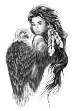 Beautiful Indian girl holding eagle Temporary Tattoo