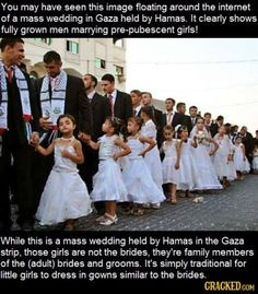 As explained on http://www.snopes.com/photos/politics/masswedding.asp , while the photo did show a wedding, the girls were NOT the brides.