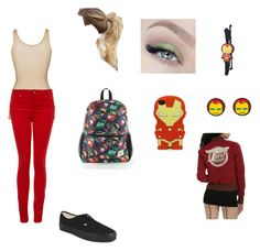 """""""Iron Man"""" by sass-queen-159 ❤ liked on Polyvore featuring iHeart, Vans, Funko, Marvel and Paige Denim"""