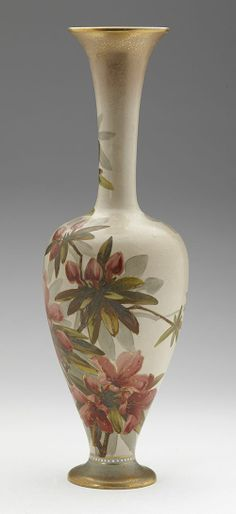 Doulton lambeth floral vase by kate rogers, c1890