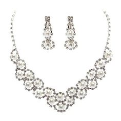 Rhinestone With Pearl Necklace And Earring Set – CAD $ 29.53