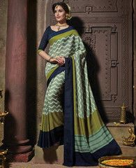 Shades Of Green Color Fancy Tusser Silk Casual Party Sarees : Ayushi Collection YF-31951