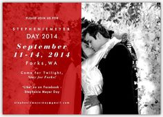 Eek!!! Look at the new invitation for Stephenie Meyer Day 2014!!! I love it!! ❤️❤️❤️ Definitely on my vacation trip list for next year! How about you? Ever been to Forks, WA? This is definitely the time to visit when a TON of Twilighters are getting their sparkle on together in the real town!! #twilightforever #twilightmarathon #twilight #newmoon #eclipse #breakingdawn #keepinthesparklealive #forkstrip #forks #stephmday  #stepheniemeyerday