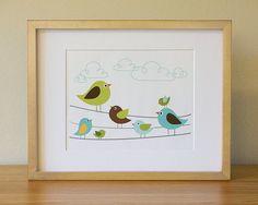 Bird  Baby Nursery Wall Art   Children Wall Art par Luliloola, $20,00