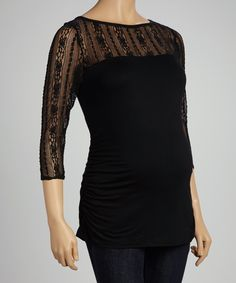 Black Lace Maternity Top