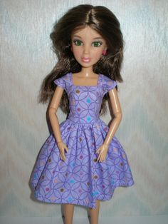 LIV doll dress is handmade with a purple cotton print. Dress only--doll is not included. Liv Dolls, Vintage Barbie, Purple Dress, Monster High, Fabric Patterns, Fashion Dolls, Doll Clothes, Live, Clothing