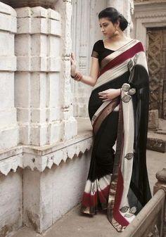 Black, Cream & Red  Colour Chiffon Material Sarees : Eternal Collection -  YF-7683