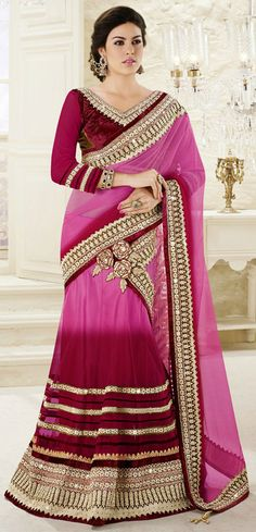 USD 126.23 Shaded Dark Pink Net Border Work Party Wear Lehenga Saree 42469