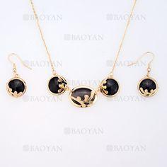 juego collar y pendientes de piedra negra en acero dorado inoxidable para mujer -SSNEG404033