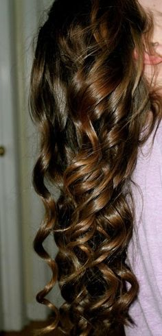 long curly brown hair
