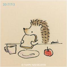 1226 朝ごはん breakfast Hedgehog Art, Hedgehog Drawing, Cute Hedgehog, Doodle Drawings, Easy Drawings, Animal Drawings, Doodle Art, Hedgehog Illustration, Cute Illustration