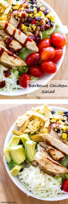 This flavorful salad is packed with the works: Tyson Grilled & Ready Chicken Strips, Birds Eye Southwestern Protein Blends, pepper jack cheese, avocado, tortilla strips, tomatoes, and barbecue sauce. Quick, easy, and oh-so-delish!  www.alattefood.com