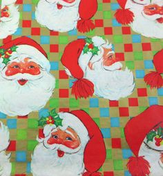 Vintage Christmas Wrapping Paper or Gift Wrap with Jolly Santa Claus Faces Gold Green Red and Turquoise Blue