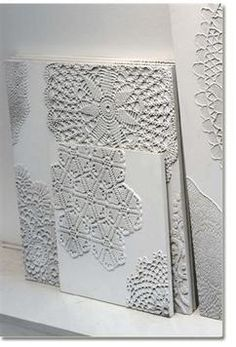 Dishfunctional Designs: Vintage Lace & Doilies: Upcycled and Repurposed. Doilies on canvas and painted white. Doily Art, Lace Doilies, Doilies Crafts, Lace Art, Framed Doilies, Fun Crafts, Diy And Crafts, Arts And Crafts, Diy Projects To Try