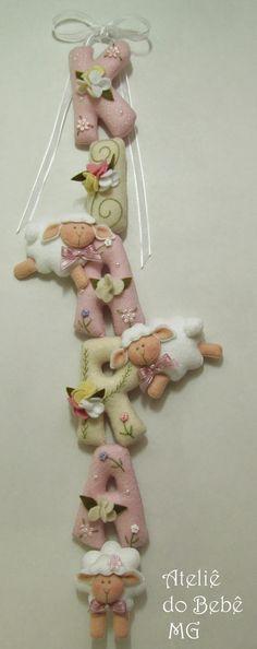 Ateliê do Bebê MG: Nome de Bebê em Feltro ( Kiara )