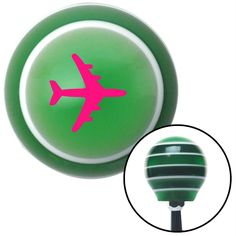 Pink Commercial Airplane Green Stripe Shift Knob with M16 x 15 Insert