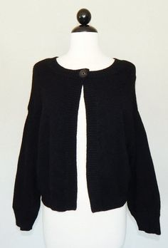 LL Bean L size Cashmere Cardigan Sweater Black Zip Front Womens ...