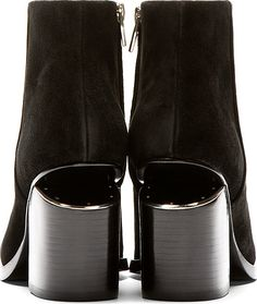 Alexander Wang Black Notched Heel Gabi Ankle Boots